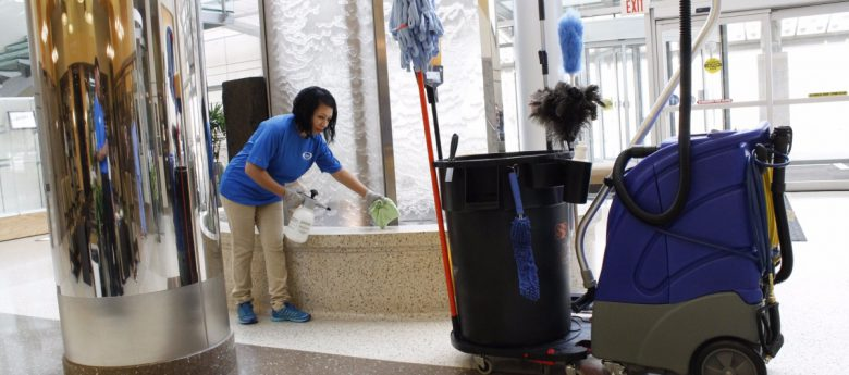 lady cleaning at the mall
